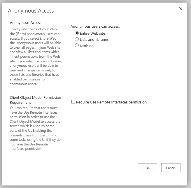 Anonymous Users accessing a SharePoint List – An error has